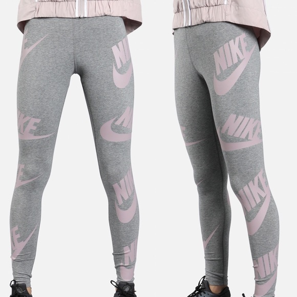 be7fdd36a4788 Nike Pants | Nwt Legasee Graphic Grey Pink Leggings S | Poshmark